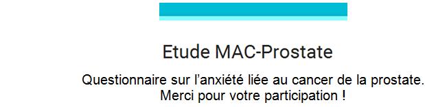 Etude MAC prostate