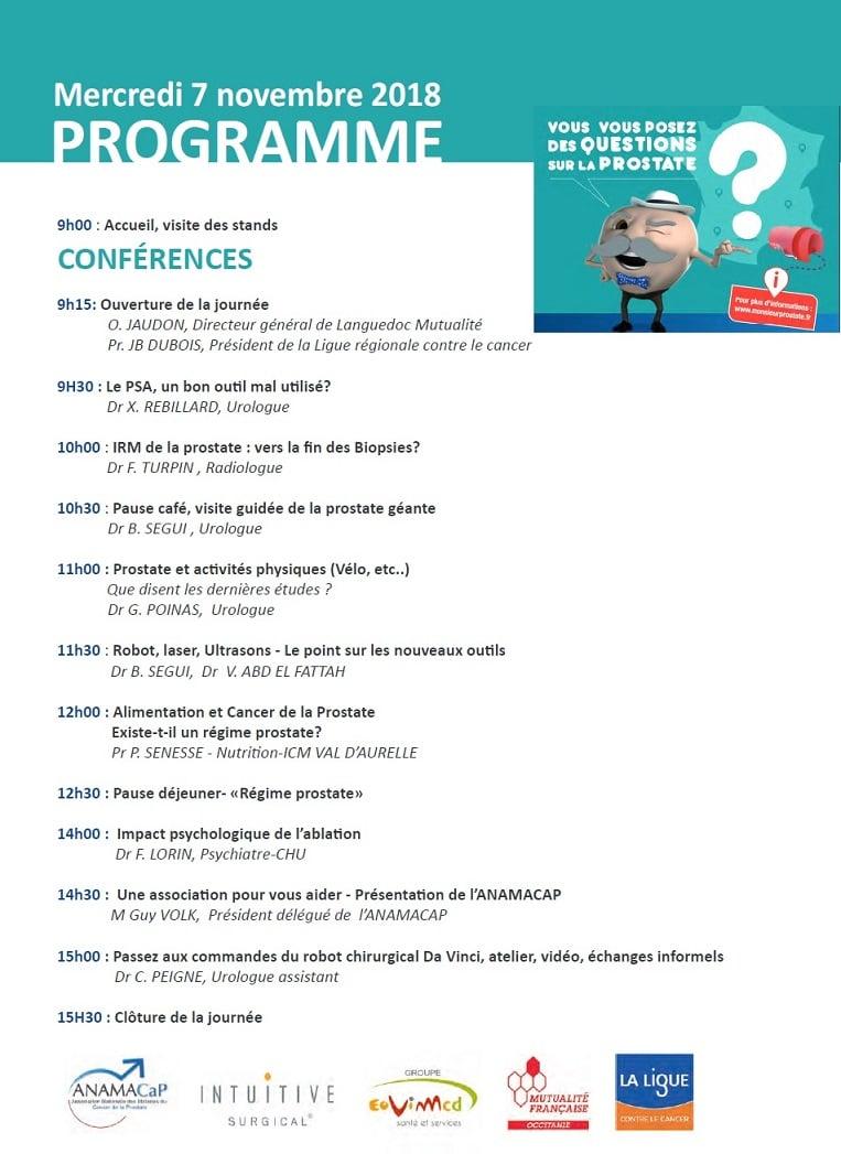 Programme prostate tour Montpellier Beau soleil