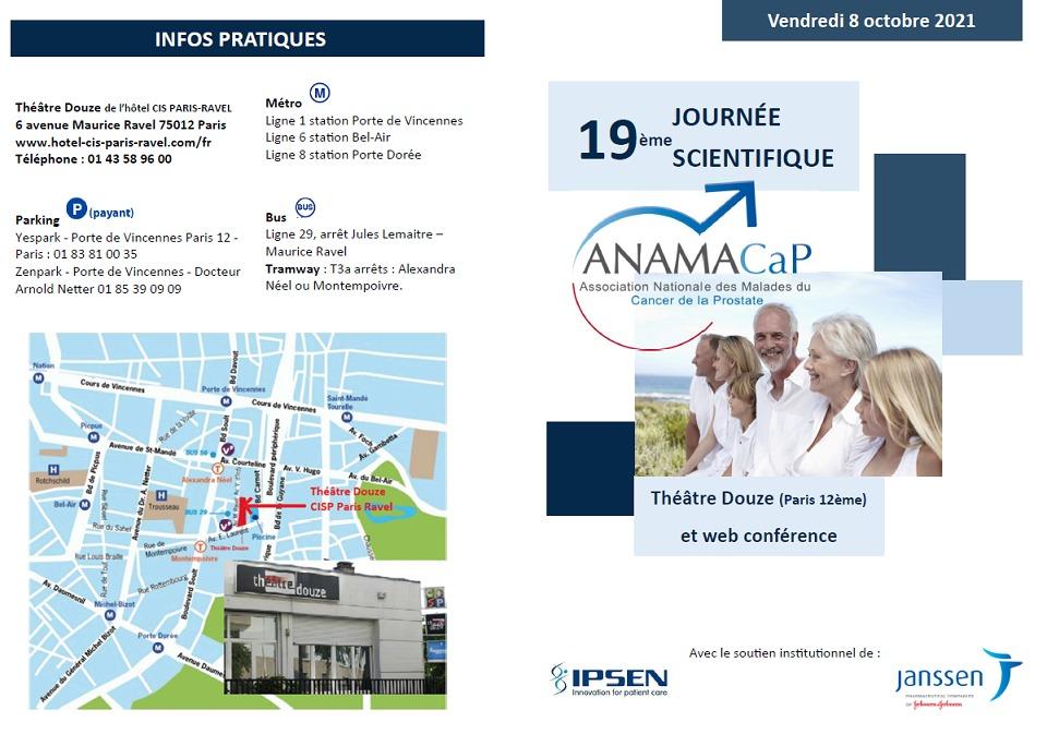 Informations pratiques 19ème journée scientifiques médecins patients de l'ANAMACaP